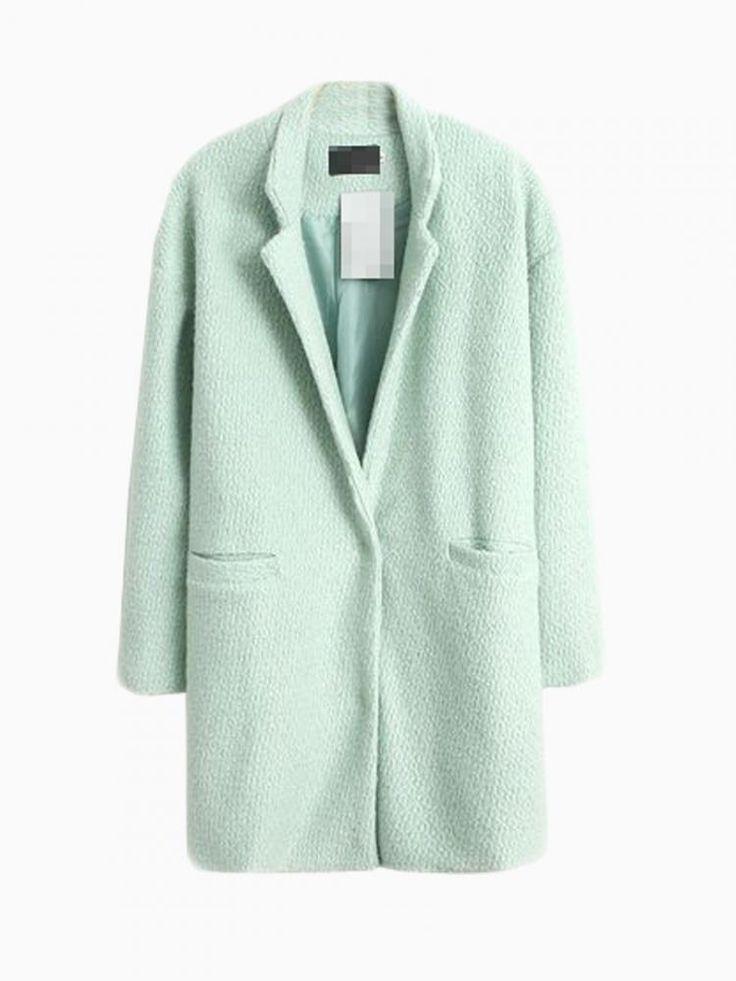 Light Green Longline Wool Coat