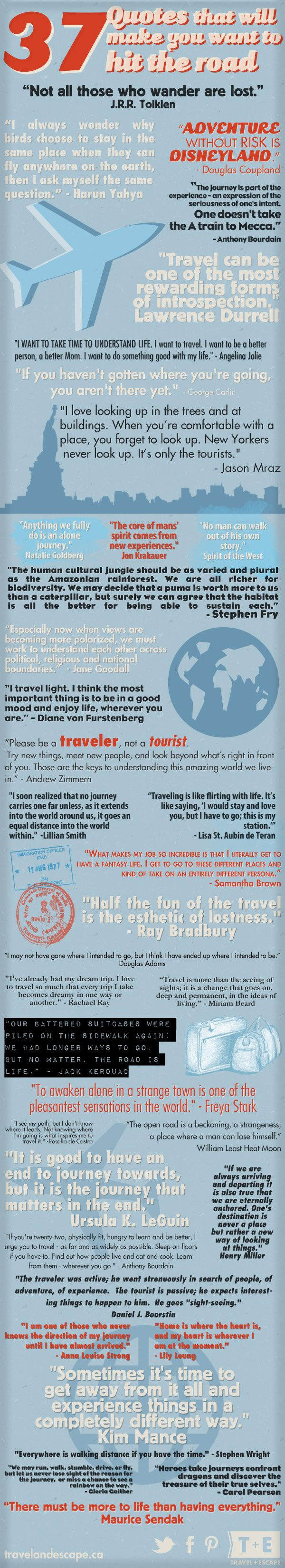 37 Inspirational Travel Quotes >> Love these!