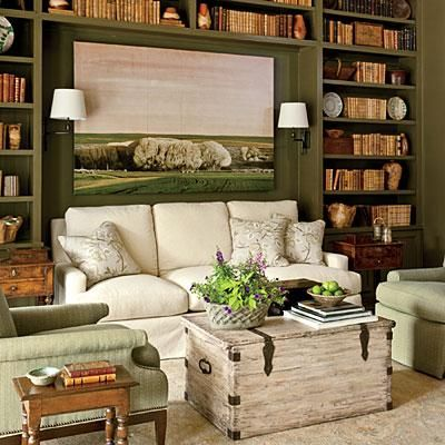 The Study   Just off the living room sits a wonderful, intimate little study that was designed as a purposeful departure from its big, open neighbor.   #SLIdeaHouse   SouthernLiving.com