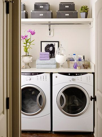 Use up-high shelving to maximize laundry room storage space.