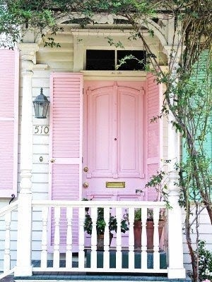 Charming Cottage Style pink porch.