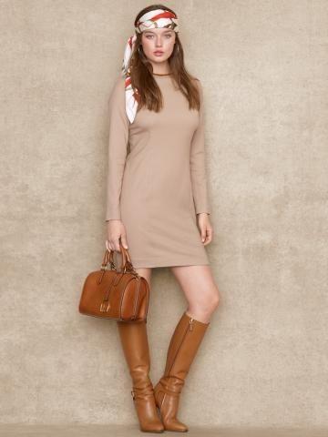 Suede-Trimmed Wool Dress - Short Dresses