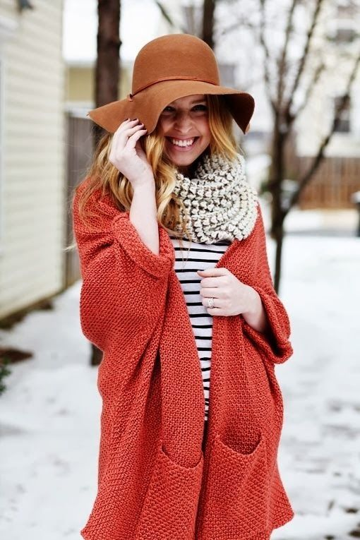 Winter look - brown, red & stripes <3 this