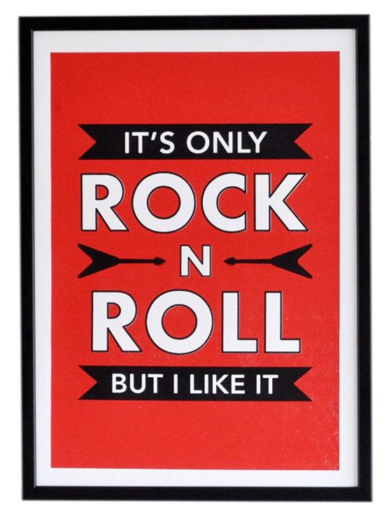 Rock n Roll Screen tryckaffisch - Rolling Stones - Retro Music Lyrics Print...It's only rock n roll but i like it..........