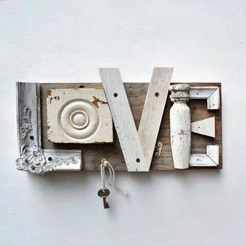 Upcycled wooden salvaged pieces spell out the word LOVE, key hook; Upcycle, recycle, salvage, diy, repurpose!  For ideas and goods shop at Estate ReSale & ReDesign, Bonita Springs, FL