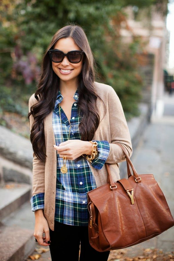plaid shirt and camel cardigan