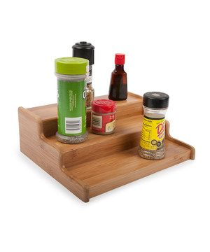 Step up the style and convenience of a seasoning display with this elevated spice rack. Three neat levels make it easy to view labels and find just the right ingredient.