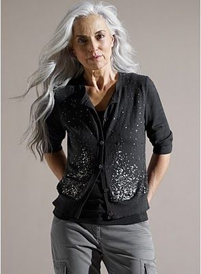 Beautiful long grey hair!