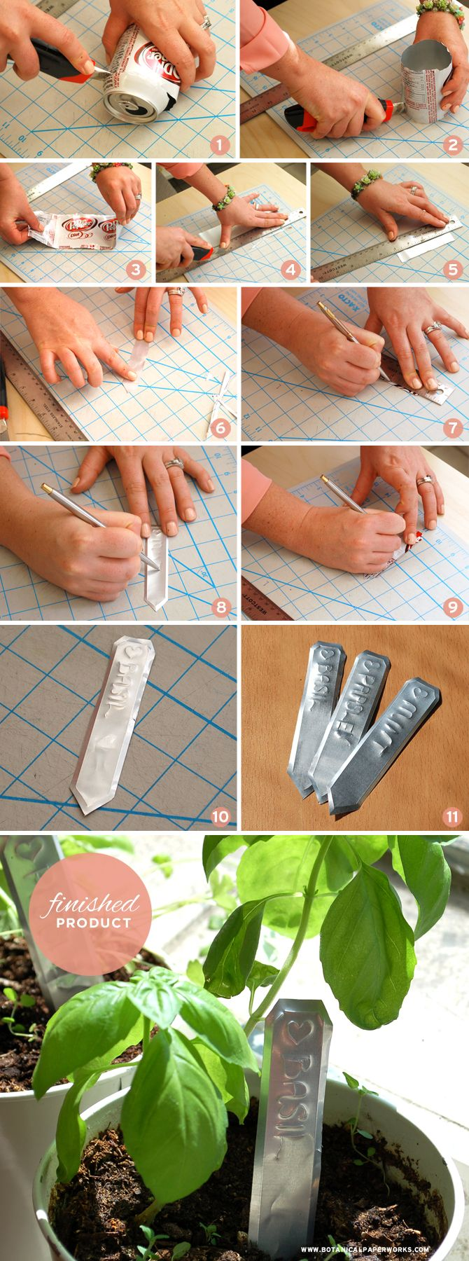 Here's a fun Eco-friendly craft - up-cycle a regular pop can into charming rustic garden markers - Check out the tutorial!