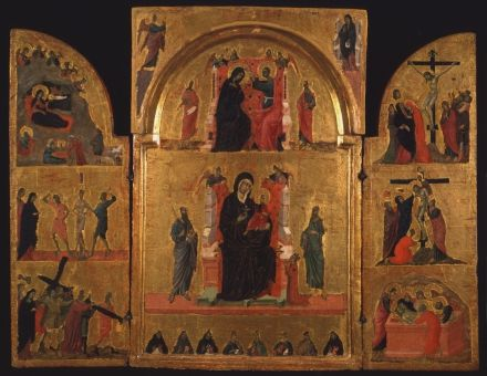 Duccio and workshop (Master of the Maestà Gondi)  Madonna on a Throne with Child and Stories of the Virgin 1311-1313 Inv. 35 portable triptych  gold foil and tempera on board 89 x 68 cm (ouvert) Siena, Pinacoteca Nazionale
