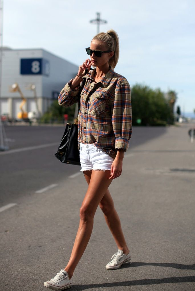OUTFIT: white denim shorts, flannel shirt, white ...