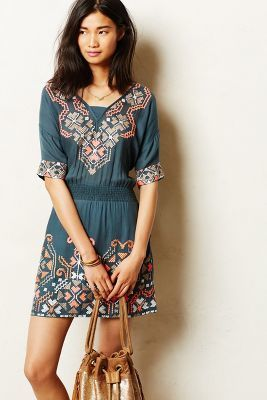 Yoana Baraschi Rhona Stitched Peasant #Dress #anthrofave #anthropologie #sale