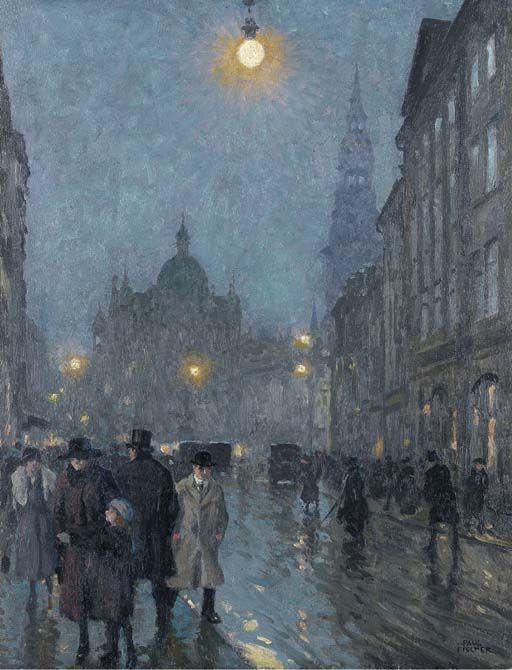 Evening, Copenhagen, Paul Fischer. Danish (1860 - 1934)