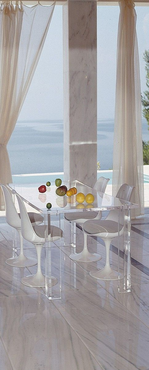 Luxury dining room with large marble floor & stunning ocean view! It's clean, airy, bright & so elegant!!!