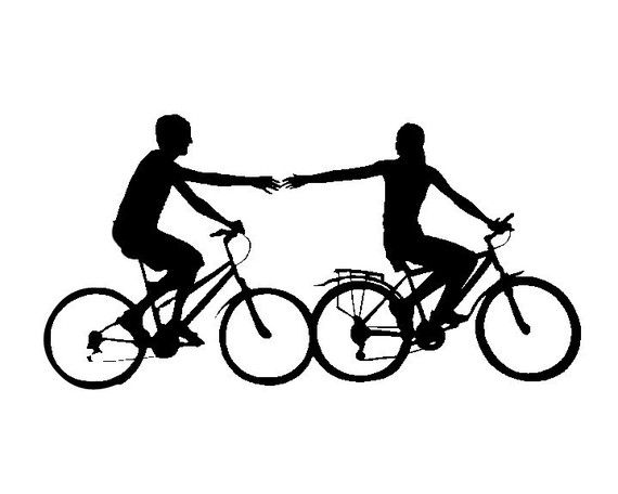 bicycle silhouette holding hands as seen in the wall on wall street journal login id=85155