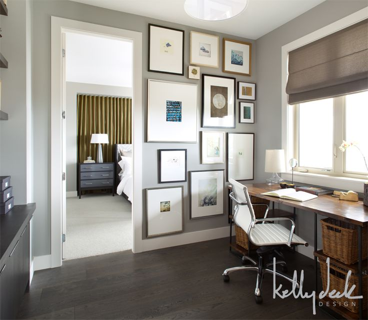 home office paint color with dark wood floor and desk on color ideas for home office id=46803