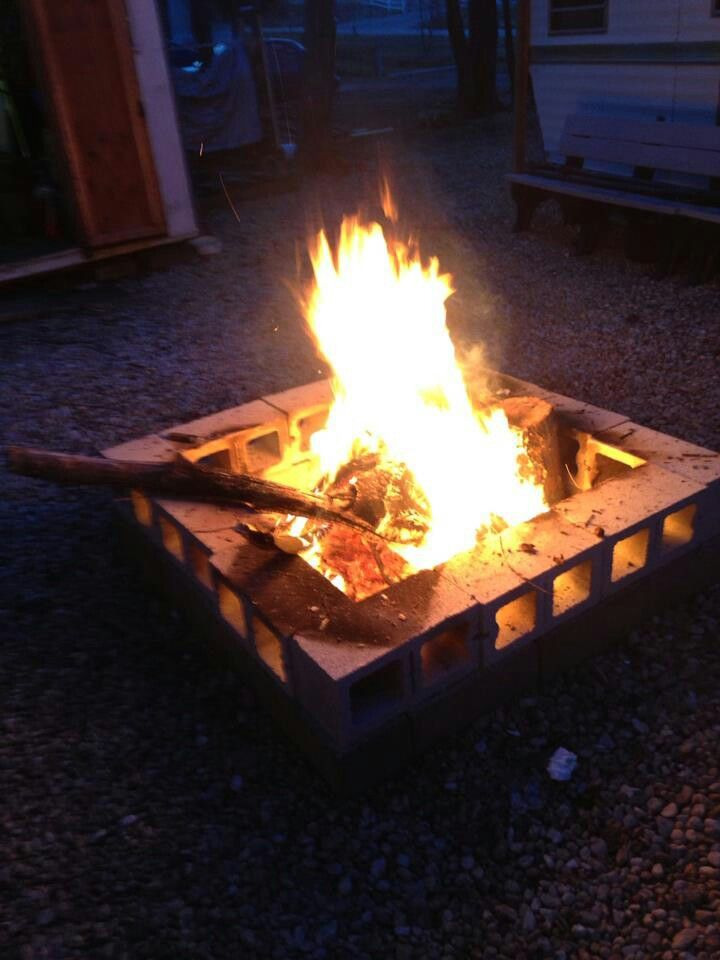 Easy cinder block fire pit on Simple Cinder Block Fireplace id=57899