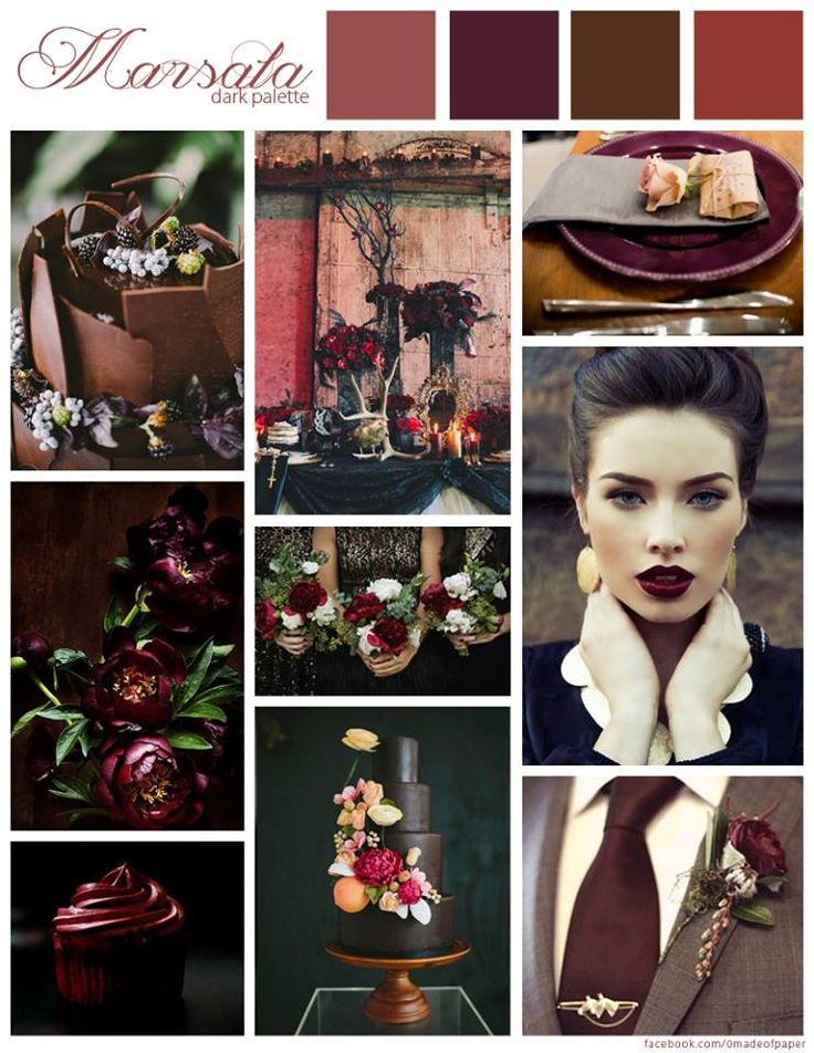 Marsala wedding inspiration. Love the coloured lip! Pantone colour of the year #Marsala #wedding #pantone