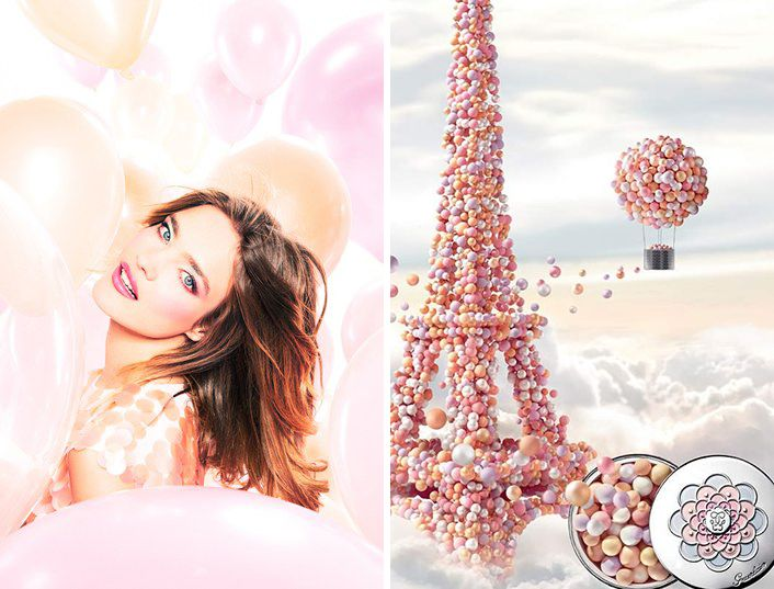 Guerlain Meteorites Blossom Makeup Collection for Spring 2014 promo with Natalia Vodianova