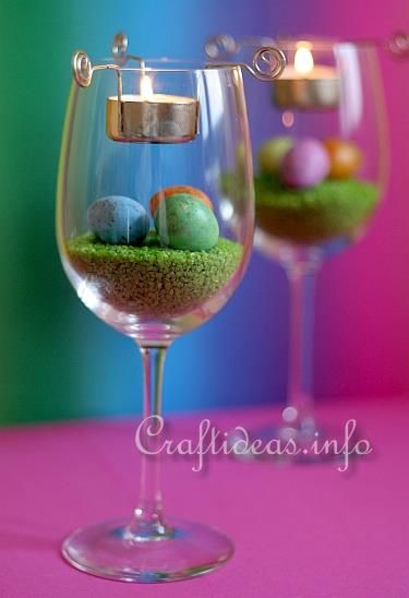 Wine Glass and Tea Light Easter Centerpiece. Our review of this CraftIdeas.info tutorial.