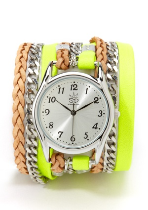 Neon Yellow, Silver, and Beige Leather and Chain Wrap Watch. Super hot for this season!