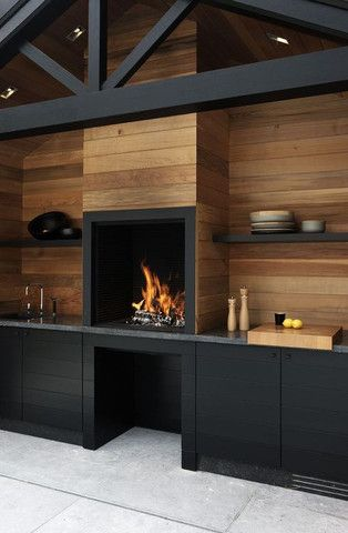 Amazing kitchen with open fireplace