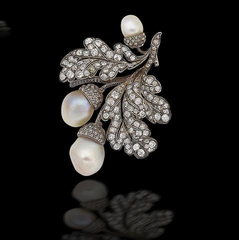 A late 19th century natural pearl and diamond brooch