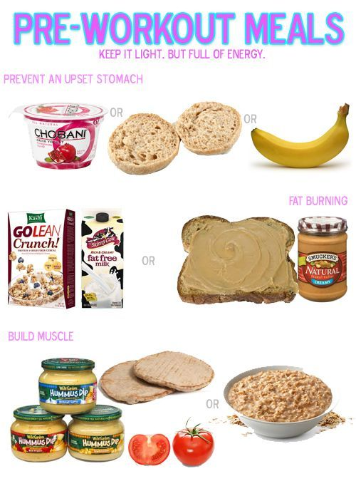 Here's a couple ideas for what to eat before a workout depending on what type of workout you are trying to do too.