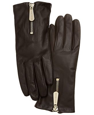 MICHAEL Michael Kors Gloves, Leather with Zipper
