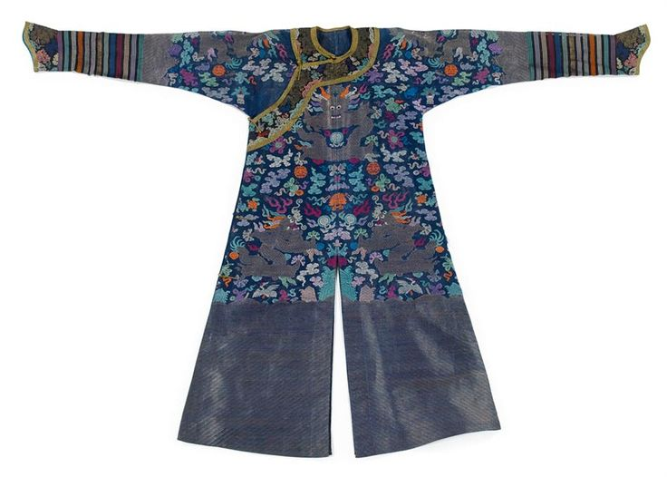 A embroidered Chinese blue gauze summer dragon robe, jifu, early 20th century