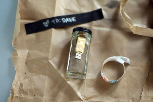 Sending a message in a bottle version 2.0: Take an old spice jar, grab a thumb drive and some glue, and you're done! We love the idea of sending a photo album, movie or playlist in a bottle. Definitely a modern take on romance.