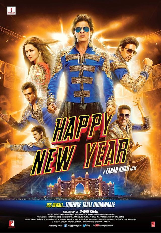 The Ultimate Happy New Year Poster: Shah Rukh Khan, Deepika Padukone, Abhishek Bachchan, Boman Irani, Sonu Sood, Vivaan Shah rock in a new look. #Bollywood #Movies #HappyNewYear