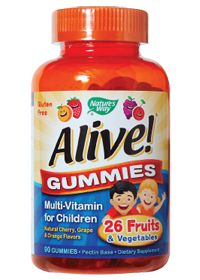 ✔️Natures Way Alive Multivitamin Gummies For Children 90 Gummies   Natural Cherry, Grape  Orange Flavors GLUTEN FREE********** used for right after surgery when it's hard to swallow hard pills.