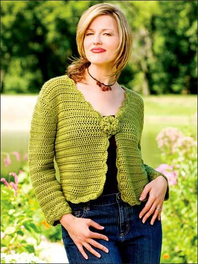 Crochet Clothes - Crochet Cardigan Patterns - Spring Green Sweater