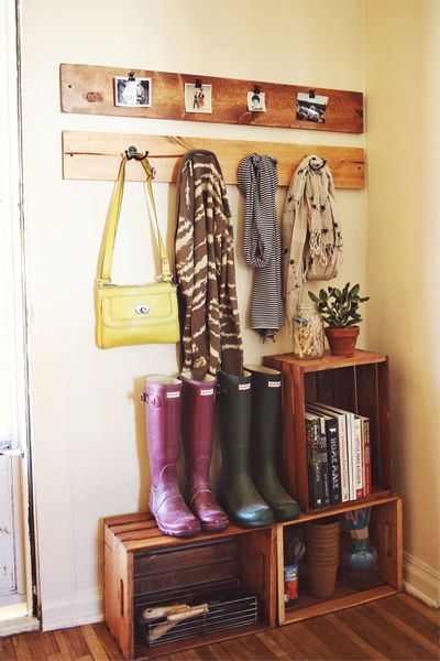 Use basic wooden crates for next to the back door storage. www.wholesomehomes.net