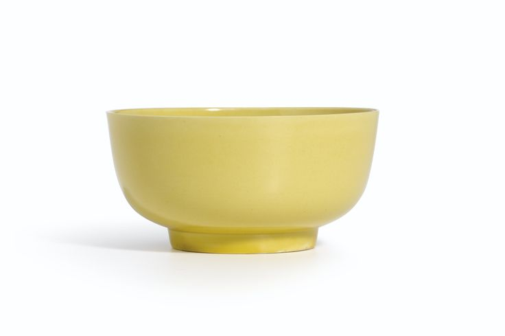 A yellow-glazed bowl, Mark and period of Kangxi