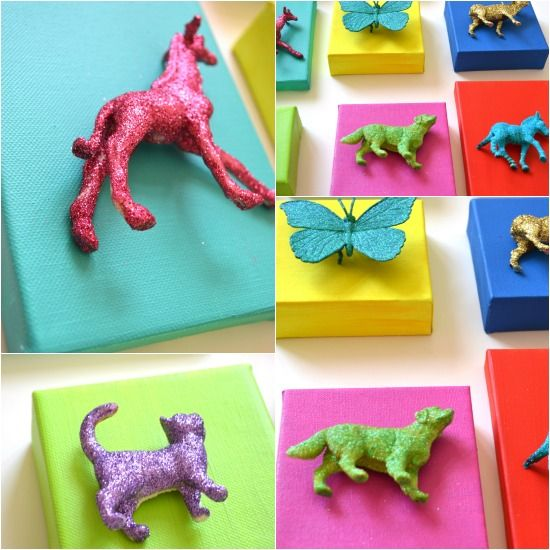 obsessed with glitter/spray paint + plastic animals