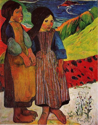 #Gauguin, Paul (French, 1847-1903) - Breton Girls by the Sea - 1889 (by *Huismus) #art #kunst #malerei #painting