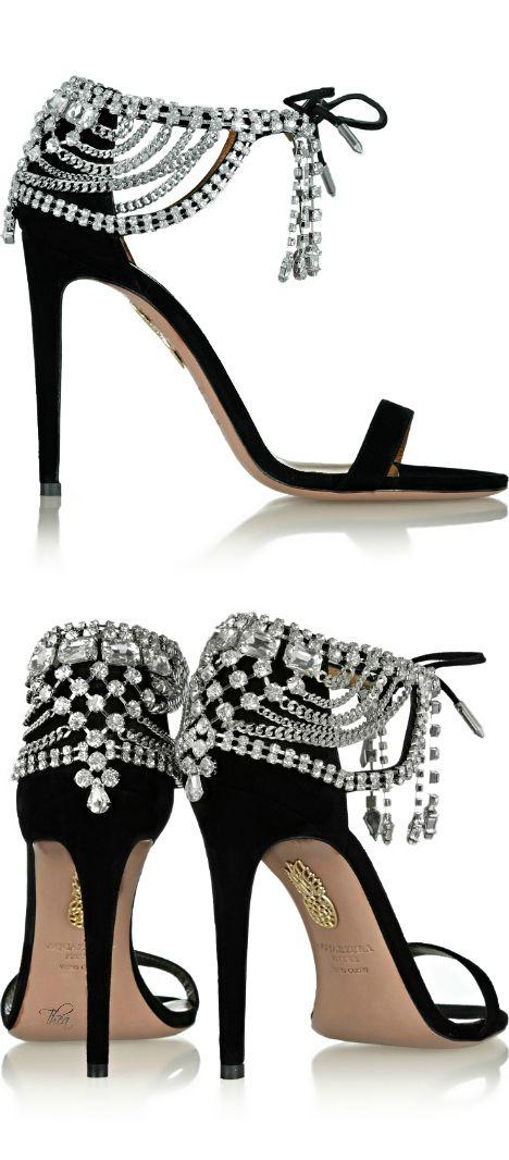 Aquazzura + Olivia Palermo ● Embellished suede sandals