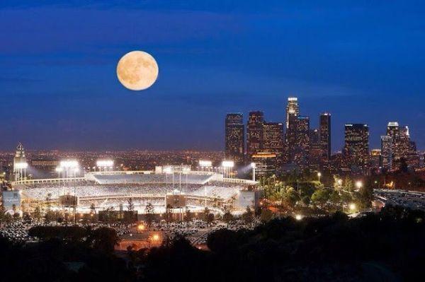 full moon over Dodger Stadium | Dodgers | Pinterest