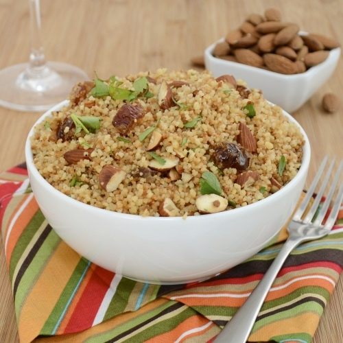 Couscous with Dates and Almonds..a great side dish for grilled chicken or fish.