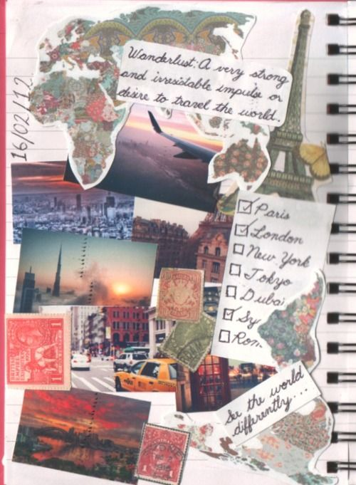 travel scrapbook collage art