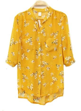 yellow chiffon blouse