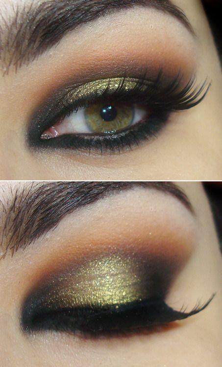 Gorgeous gold glitter #wedding eye #makeup for green #eyes www.finditforweddings.com