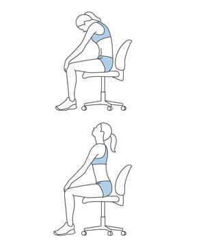 When You're Really Tense... Try a Full-Body Stretch Move 1: The Cat-Cow Sit straight in a chair and place both feet flat on the floor. Exhale as you round your spine forward into a cow pose (top). Then inhale as you arch your back into a cat pose (bottom). Repeat for five more breaths.