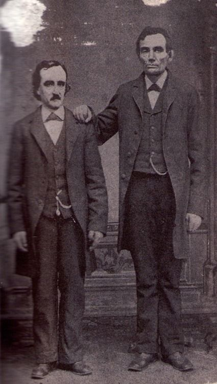 Edgar Allan Poe poses with Abraham Lincoln in Mathew Brady's Washington, D.C. studio- February 4th, 1849.  WAT