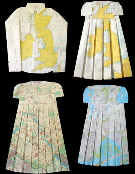 Elisabeth Lecourt of France created this series of children's clothing called 'Mapquest', with vintage styles crafted from folded and cut maps.