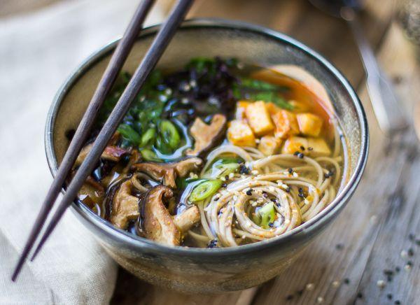 Miso and Soba Noodle Soup with Roasted Sriracha Tofu and Shiitake Mushrooms