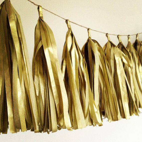 Heart of Gold ... tissue paper tassel garland // wedding decorations // new year // nye // metallic gold