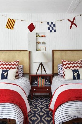 Matching twin boys beds